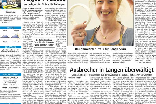 Titelseite in der Langener Zeitung